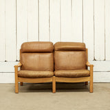 Vintage Leather Loveseat with Wooden Frame