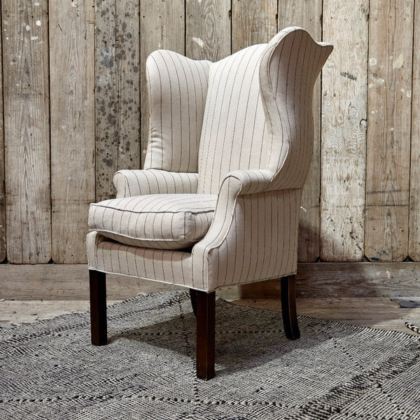 Reupholstered Ralph Lauren Pinstripe Wingback Chair Pair