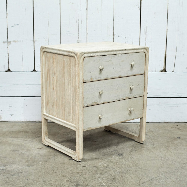 Peking Square Side Table With 3 Drawers - Off White