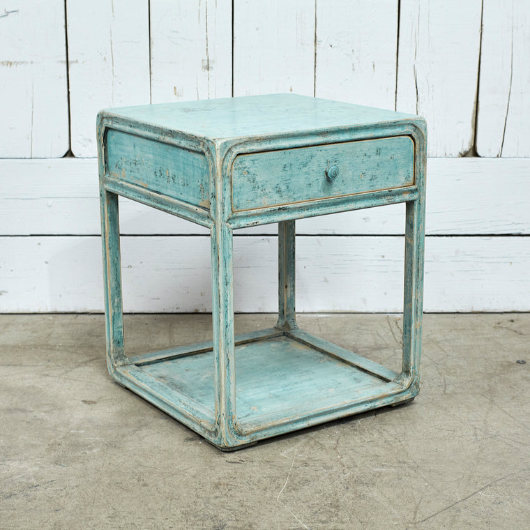 Peking Side Table W/ Drawer - Soft Aqua