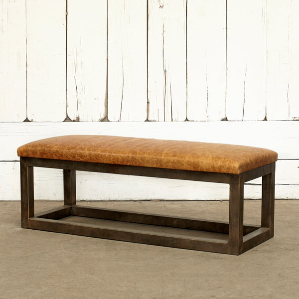 CUSTOM LEATHER BENCH W/ METAL FRAME - BROWN