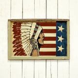 Native Chief with Flag Background