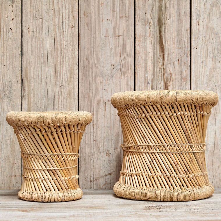 HAND-WOVEN BAMBOO AND ROPE SIDE TABLES