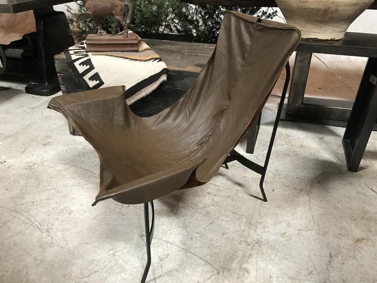 CUSTOM LEATHER SLING LOUNGER - BROWN