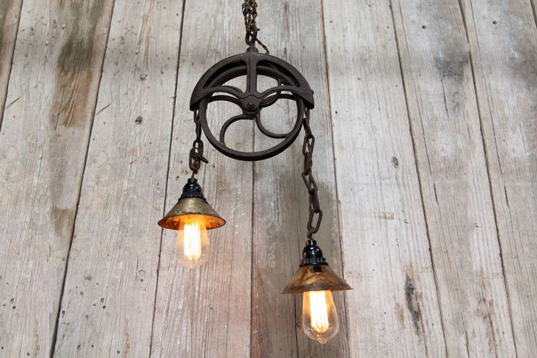 CUSTOM PULLEY LIGHT FIXTURE