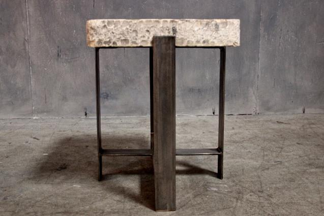 Custom Lithograph Stone Side Table