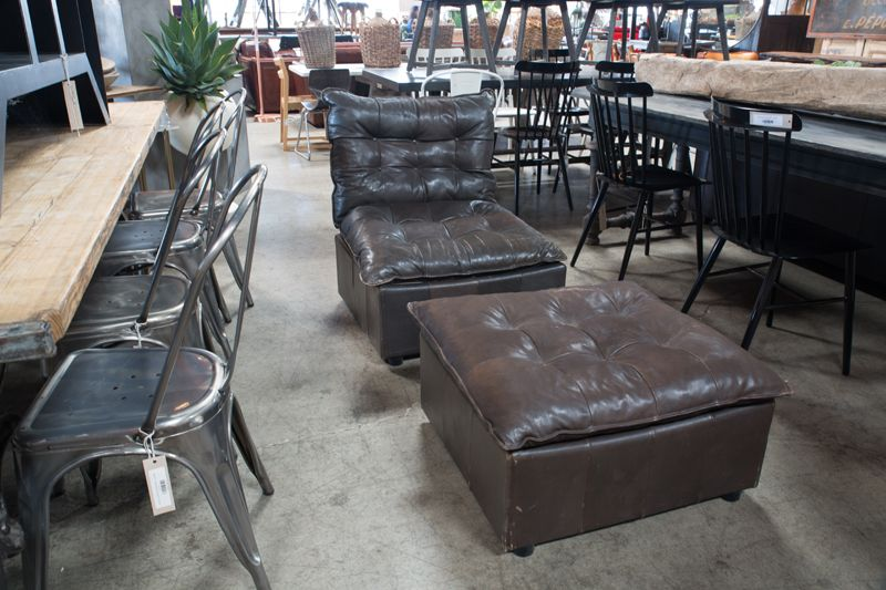 Charmant LEATHER CHAIR AND OTTOMAN SET