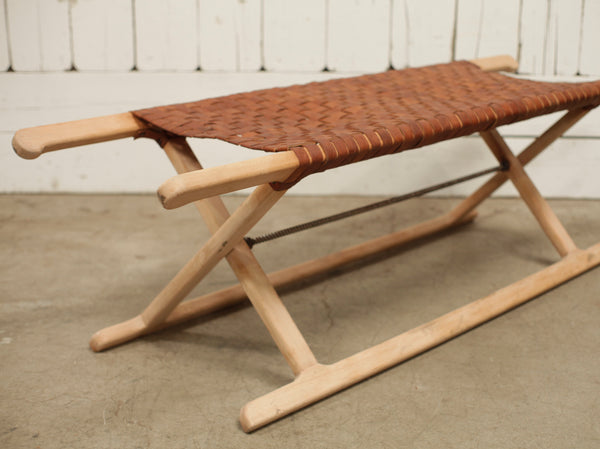 Fold Out Leather Woven Bench