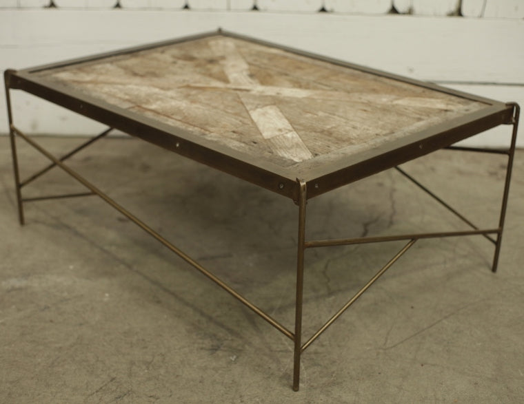 Custom Brass Banded Coffee Table