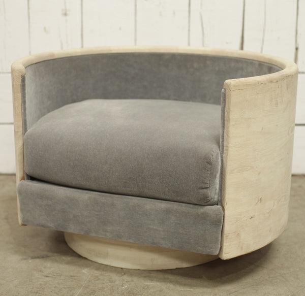 Custom Round Upholstered Chair With Wood Frame Pair