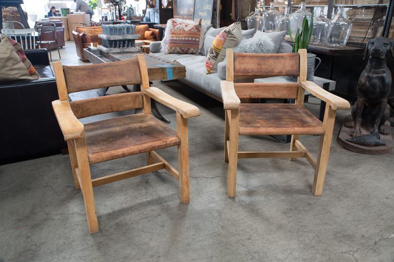 PAIR OF WOOD AND LEATHER CHAIRS