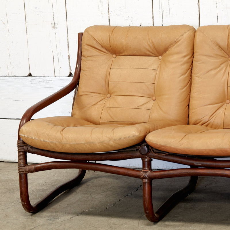 Bamboo Framed Caramel Leather Sofa