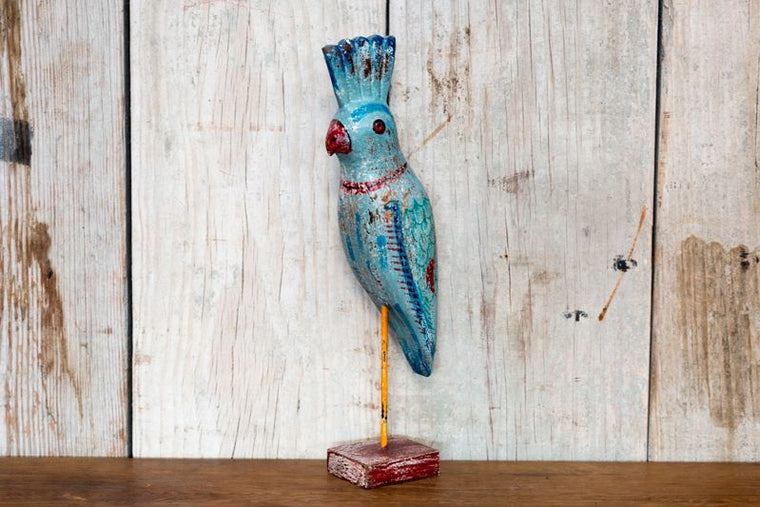 CARVED PARROTS ON STAND - BLUE