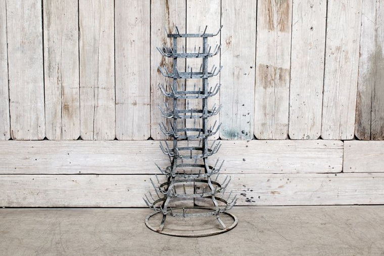 VINTAGE GALVANIZED STEEL BOTTLE DRYING RACK