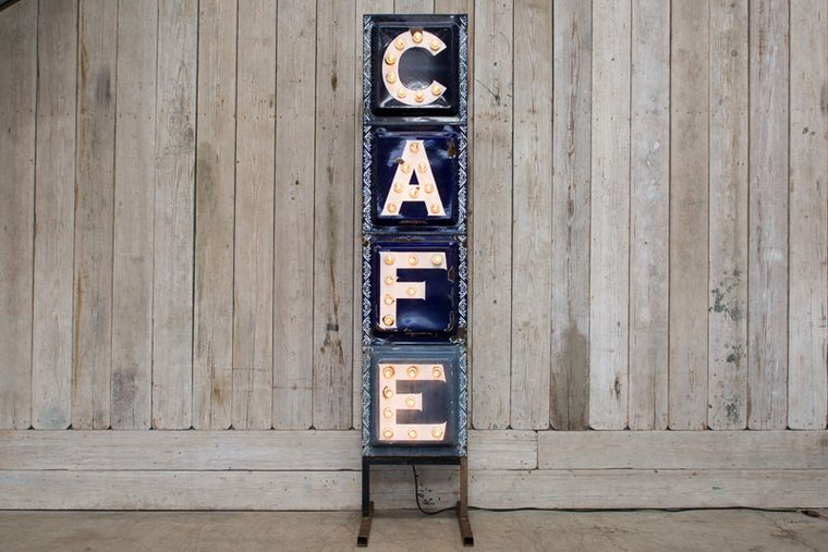 ILLUMINATED VERTICAL CAFE SIGN