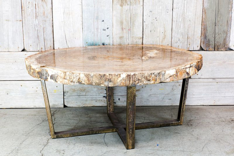 CUSTOM PETRIFIED WOOD COFFEE TABLE