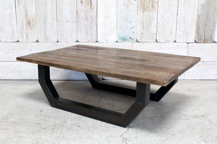 CUSTOM WOOD TOP COFFEE TABLE W/ METAL BASE