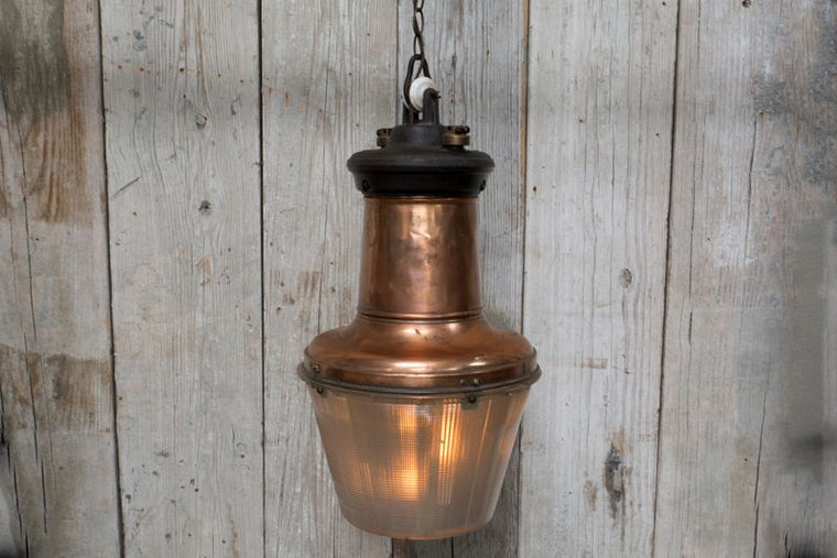INDUSTRIAL COPPER LIGHT FIXTURE