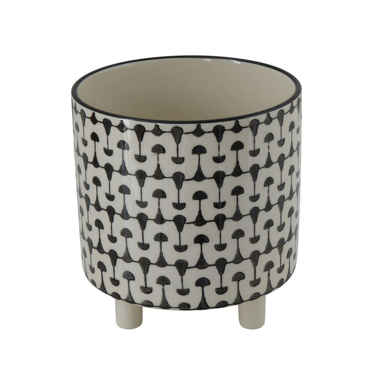 BLACK AND WHITE PRINT STONEWARE PLANTER