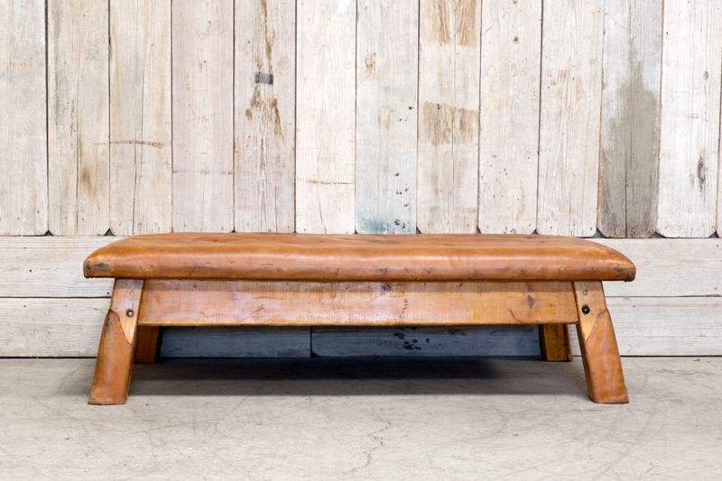 VINTAGE LEATHER GYMNASIUM BENCH