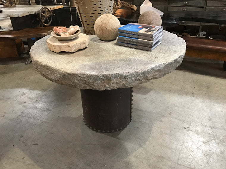 CUSTOM STUDDED DRUM BASE TABLE W/ STONE TOP