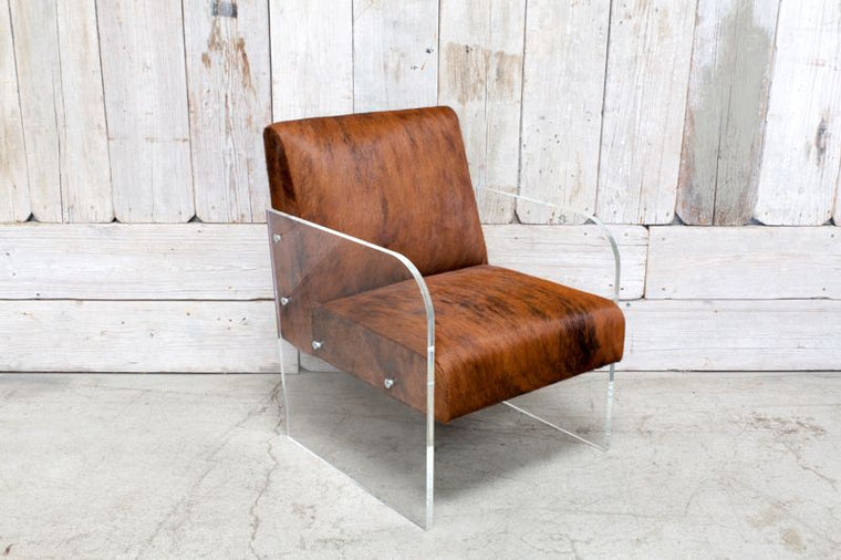 CUSTOM LUCITE BASE CHAIR W/ COWHIDE