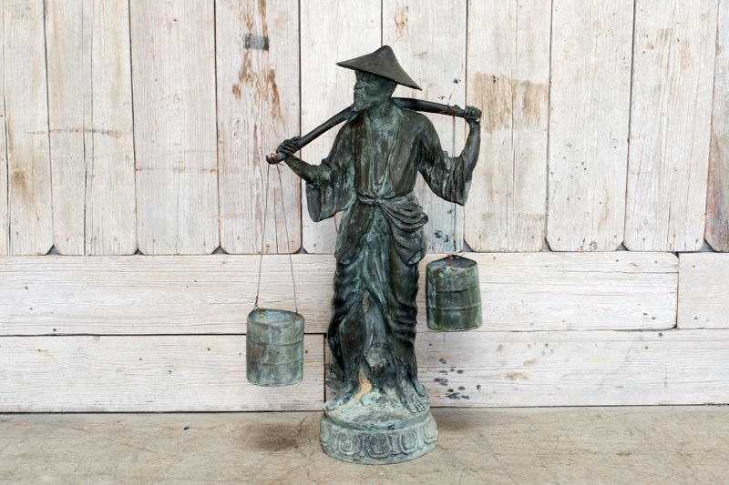 VILLAGE MAN STATUE FETCHING WATER