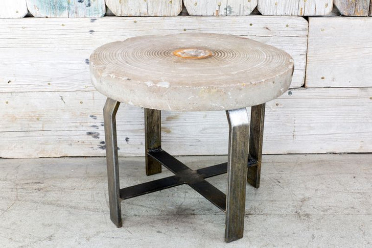 CUSTOM MILL STONE SIDE TABLE