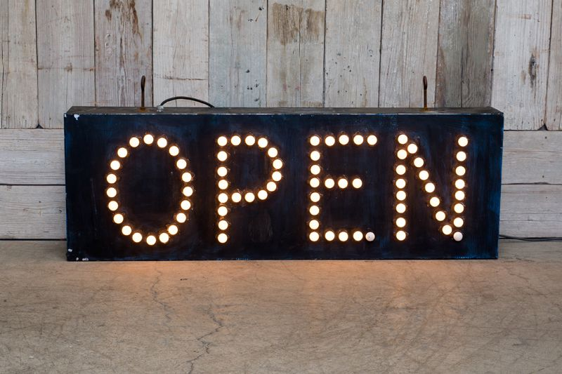 VINTAGE ILLUMINATED OPEN SIGN