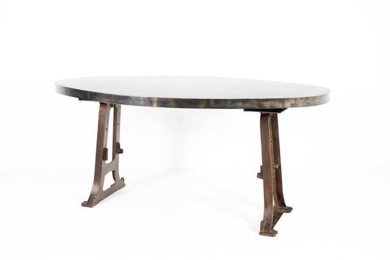 CUSTOM OVAL TABLE W/ CAST IRON MACHINE LEGS