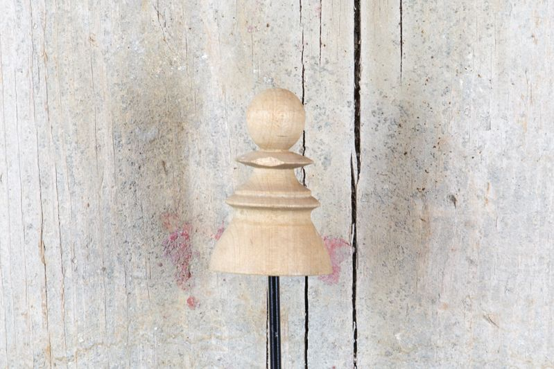 VINTAGE WOOD CHESS PIECE ON STAND - PAWN
