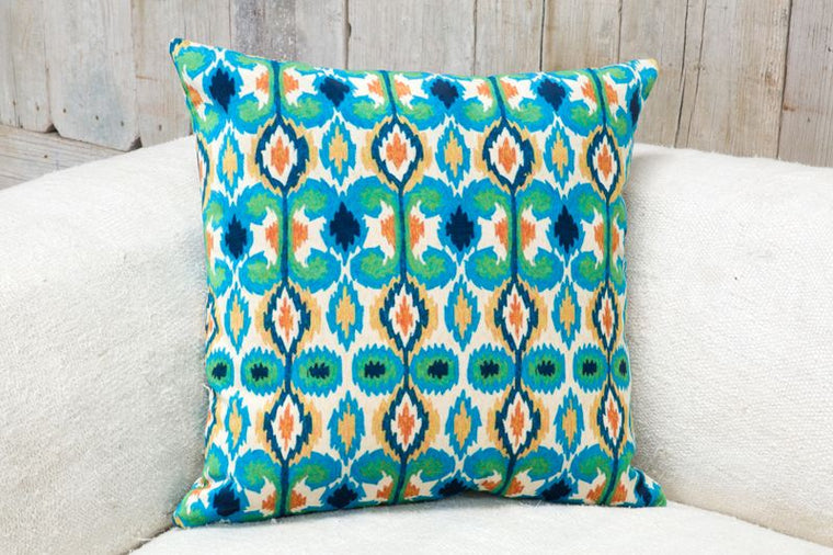 VELVETEEN PILLOW - BLUE & GREEN