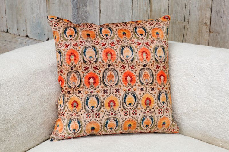 VELVETEEN PILLOW - ORANGE & YELLOW