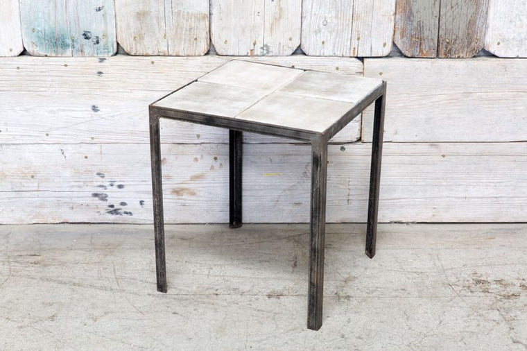 CUSTOM SIDE TABLE W/ CONCRETE TILES