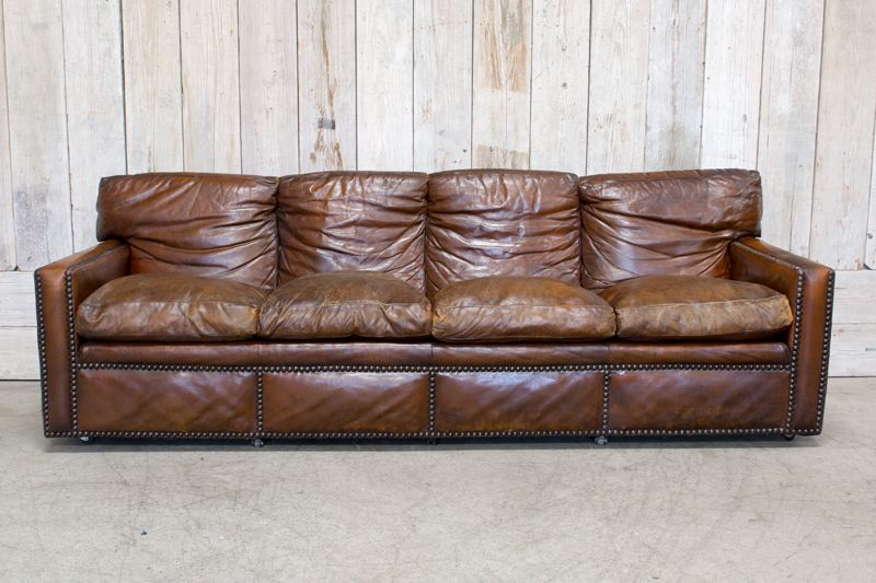 VINTAGE STUDDED LEATHER SOFA - BROWN