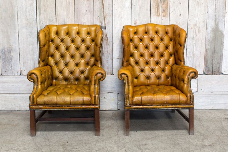 PAIR OF VINTAGE TUFTED WINGBACK CHAIR - TAN
