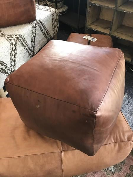 Peachy Square Leather Ottoman Bd Antiques Pabps2019 Chair Design Images Pabps2019Com