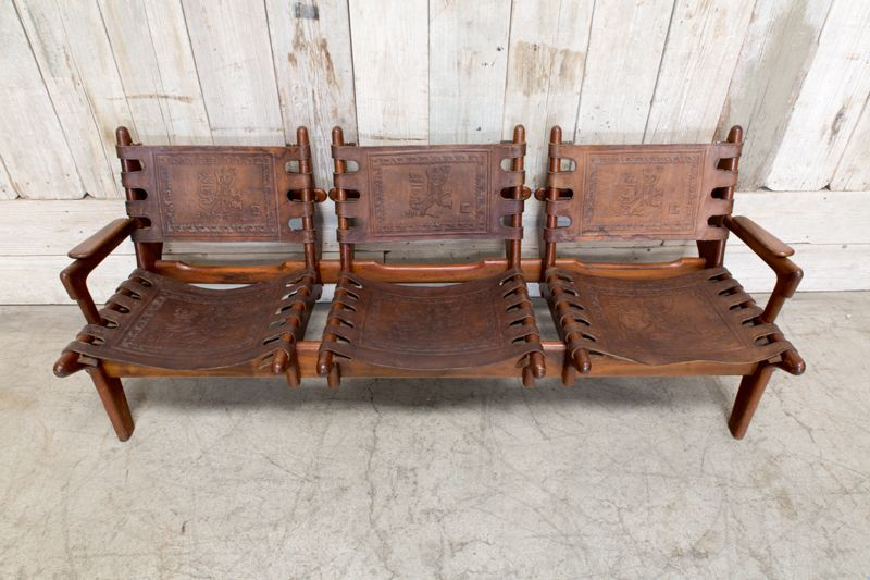 VINTAGE LEATHER THREE SEATER BENCH