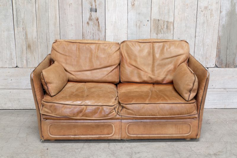 VINTAGE LEATHER LOVESEAT - TAN