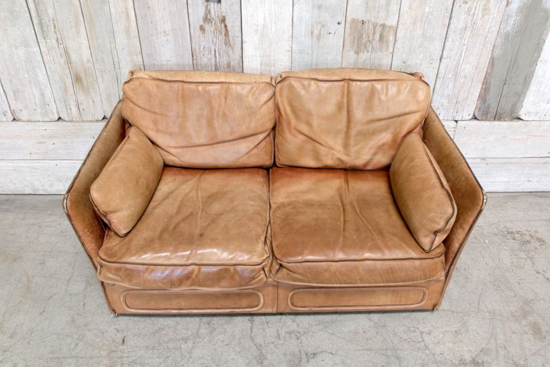 Greatest VINTAGE LEATHER LOVESEAT - TAN - BD Antiques PA05