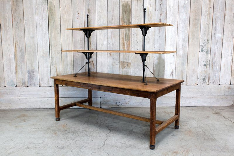 WOOD DISPLAY TABLE W/ SHELVING