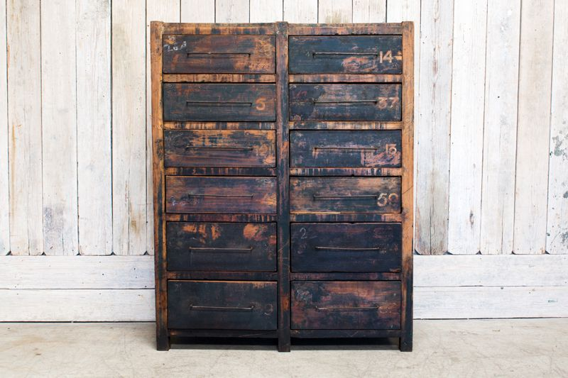 VINTAGE WOOD 12 DRAWER CABINET