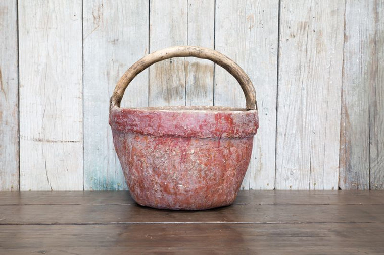 VINTAGE RED WOODEN BASKET