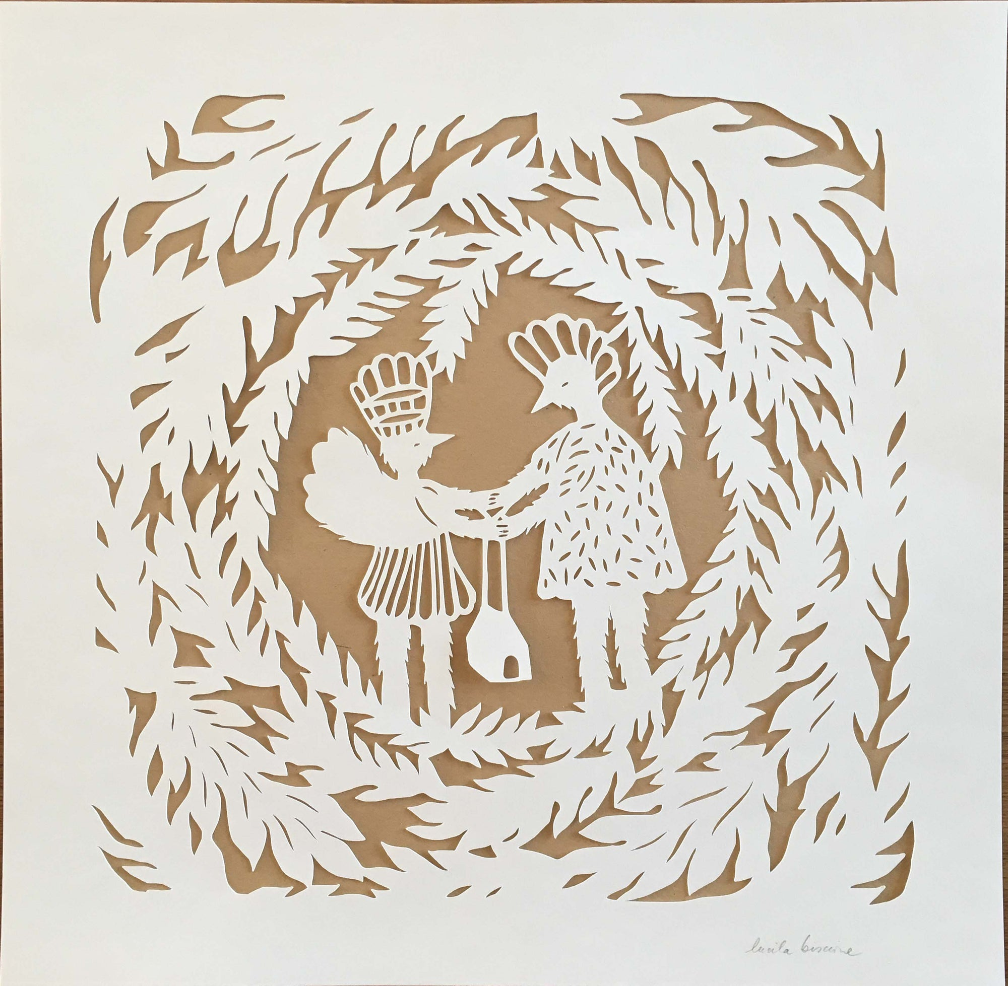 Together by Lucila Biscione- Paper cut - Toi Gallery
