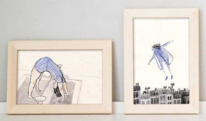 "1.""Dream, Flying""  & 2. ""The little press"" by Inbar Algazi- Diptych"