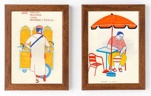 "1.""In the streets of Morocco 2"" & 2.""In the streets of Morocco 1""  by Carole Henaff -Diptych"