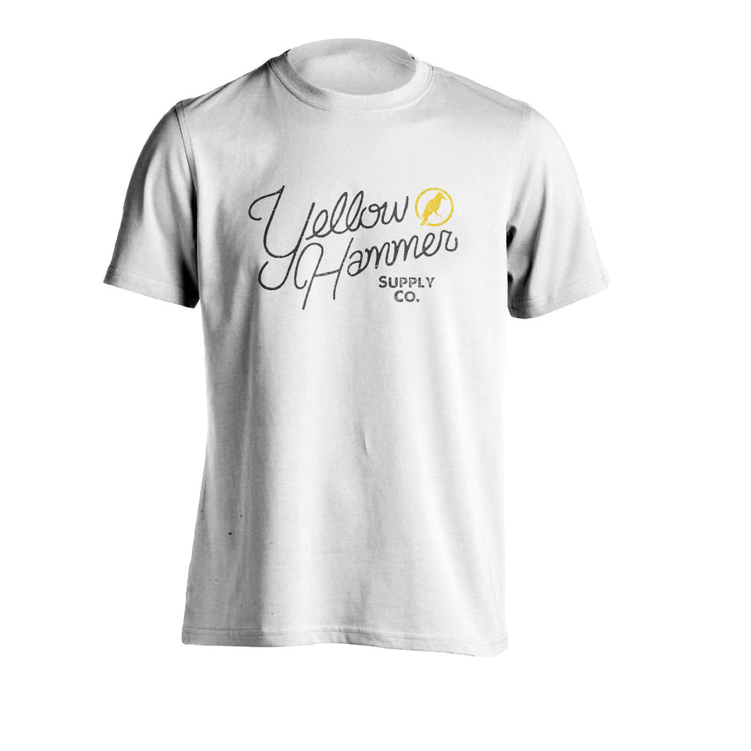 SCRIPT TEE (White and Gray) - Yellowhammer Supply Co.