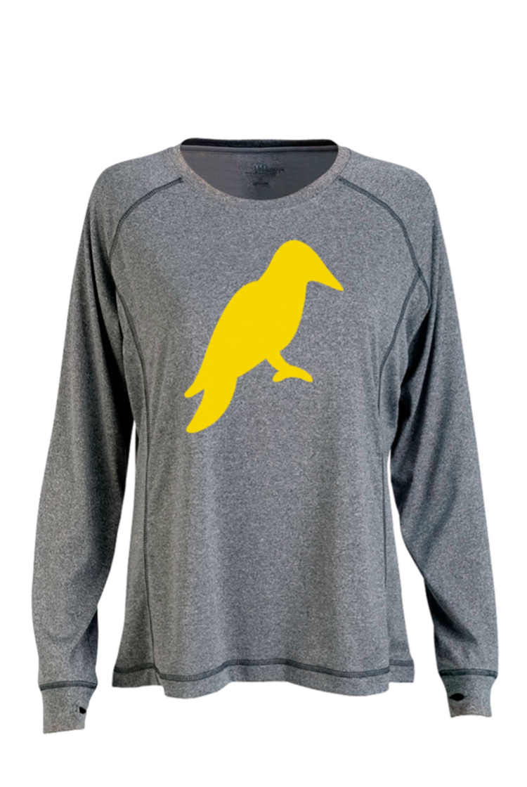 WOMENS LONG SLEEVE HEATHER GREY MÉ LANGE TECH TEE