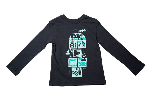 BASIC CREW NECK T - HOPSCOTCH PRINT (NAVY) - OFF-WHITE