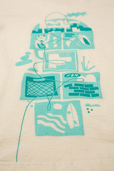 BASIC CREW NECK T - HOPSCOTCH PRINT (TEAL)- OFF-WHITE T